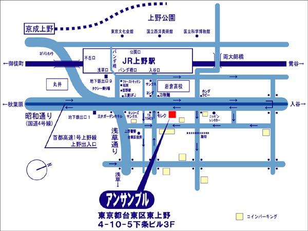 レッスン会場 上野 地図