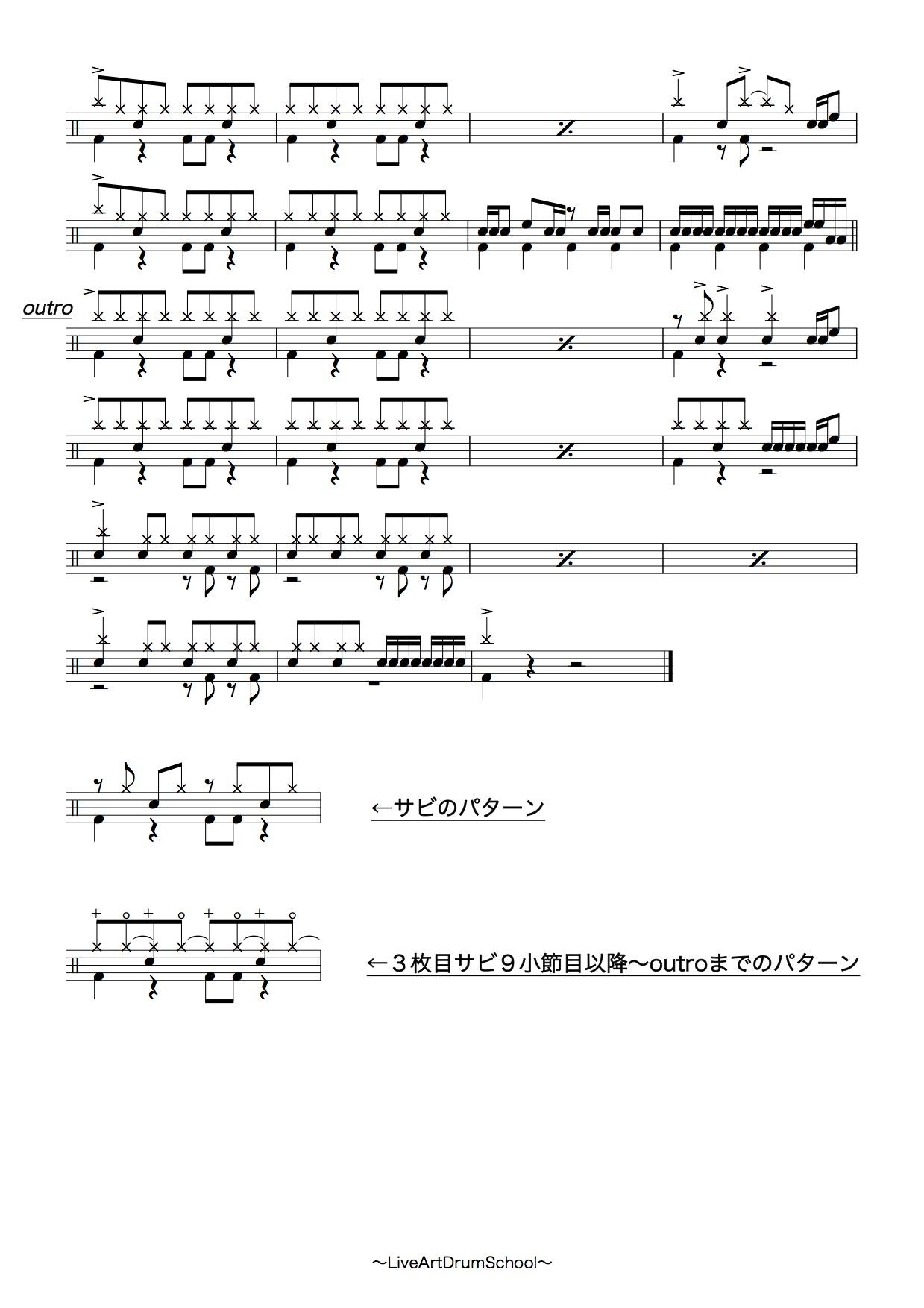 君に届け(初心者用アレンジ,ドラム譜)4