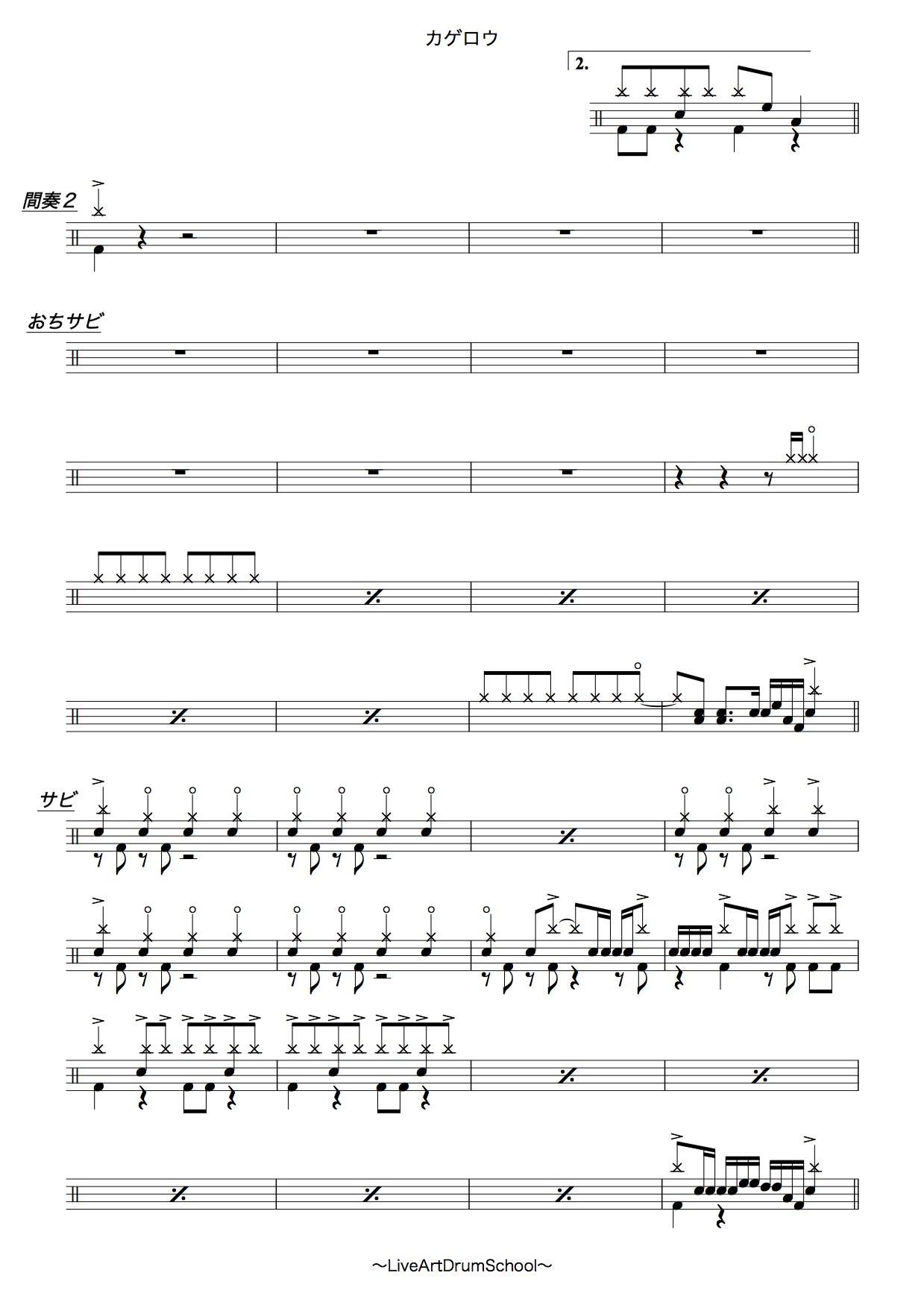 ONE OK ROCK カゲロウ(初心者ドラム譜面)3