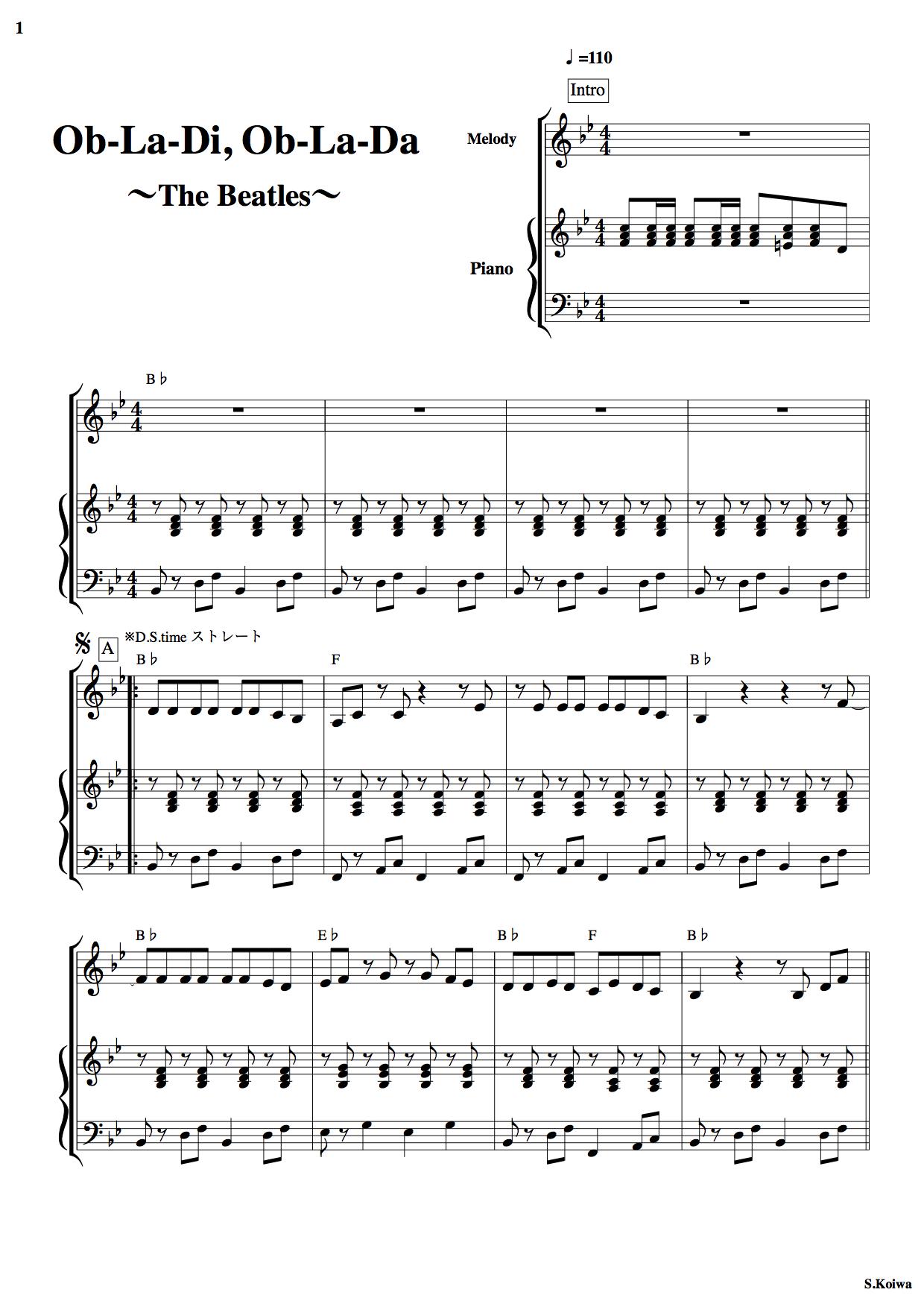 オブラディオブラダ ピアノ譜面1