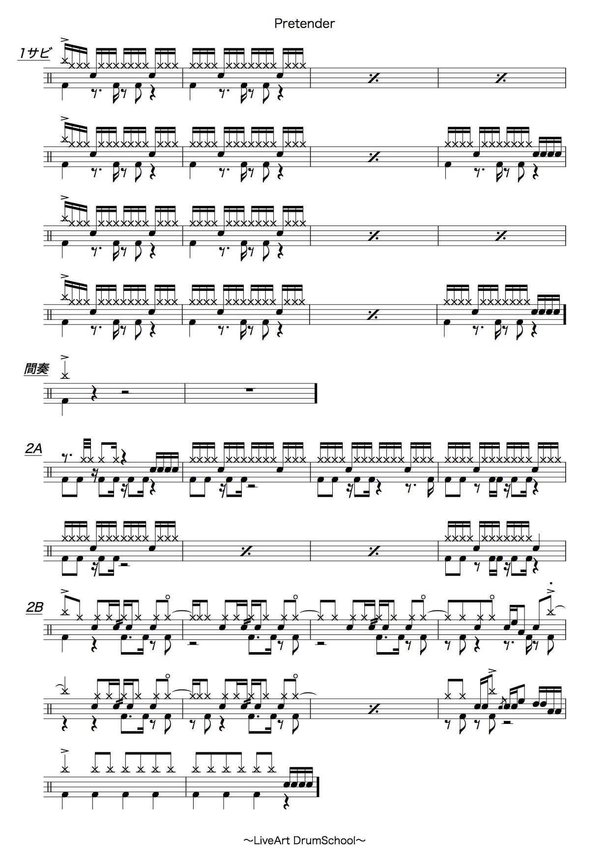 Pretender、ドラム譜面2