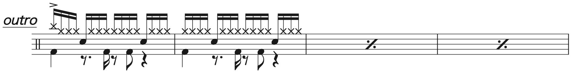 Pretender,経験者ドラム楽譜3