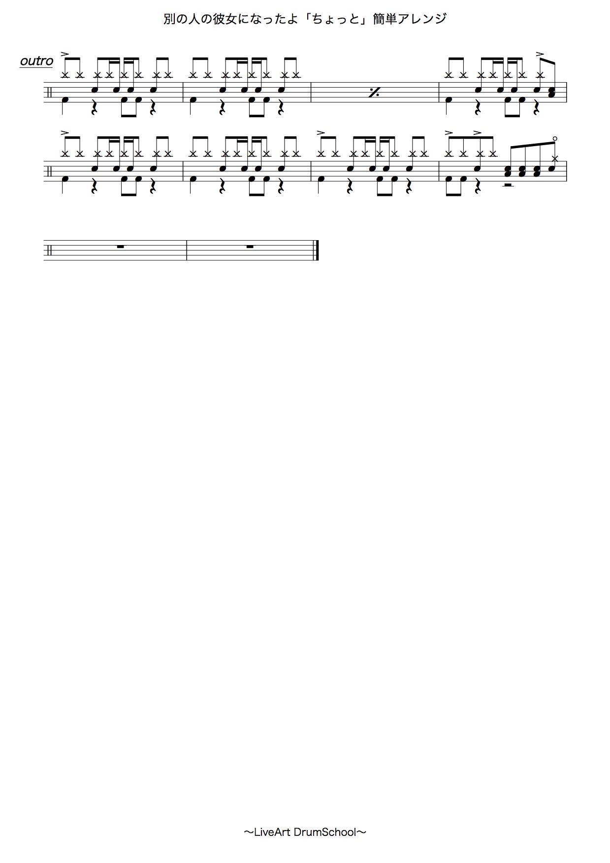 別の人の彼女になったよ・「ちょっと」簡単ドラム譜面3