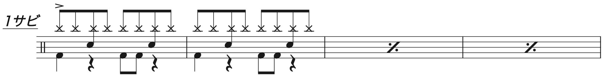 別の人の彼女になったよ,ドラム簡単楽譜2