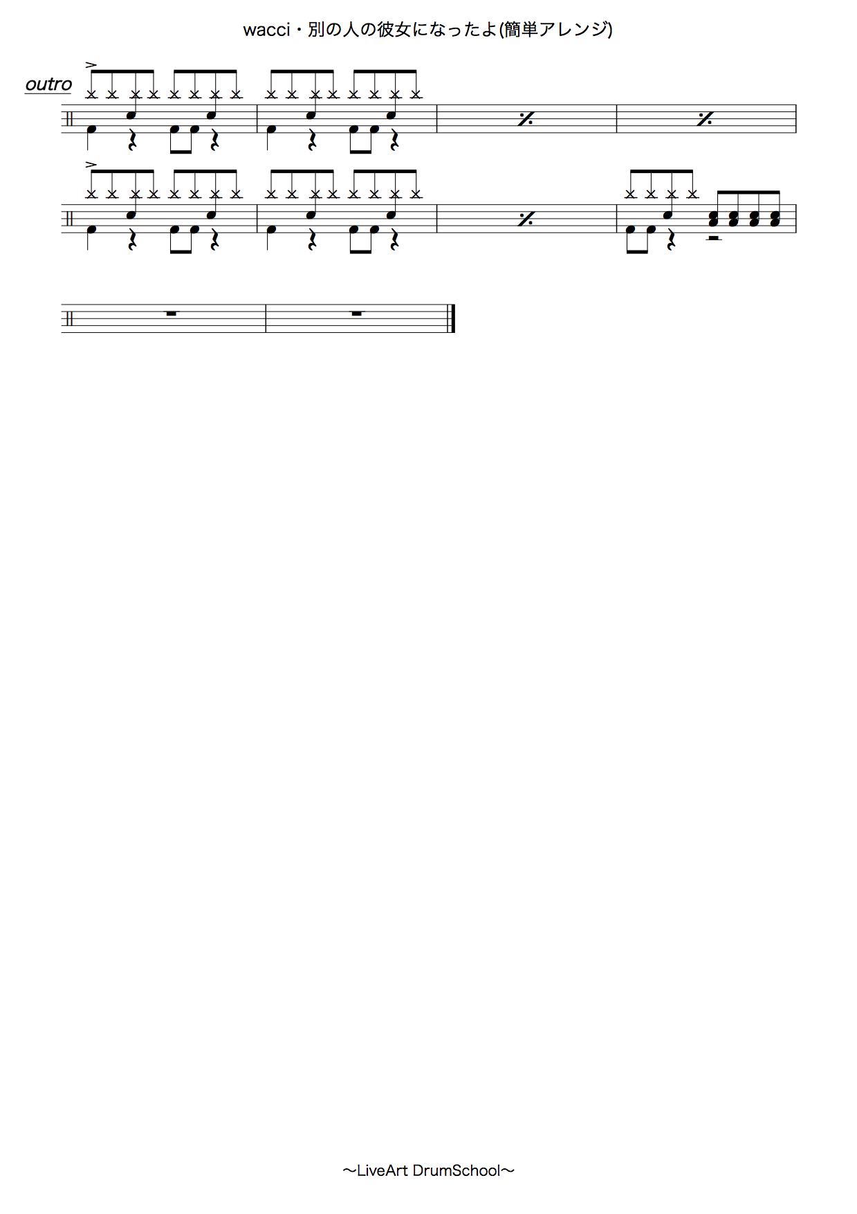 別の人の彼女になったよ・簡単ドラムアレンジ譜面3