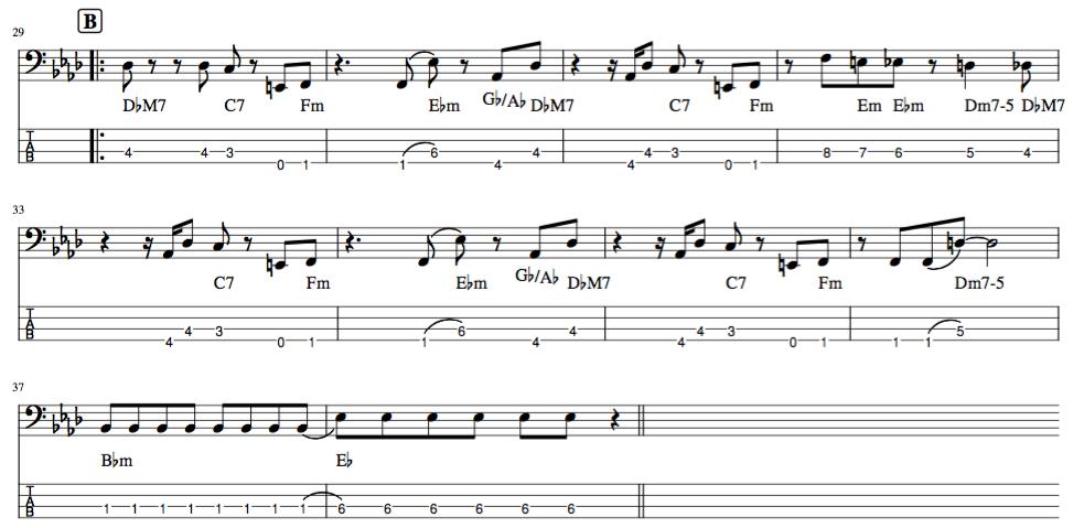 Pretender,Bメロのベース演奏TAB譜