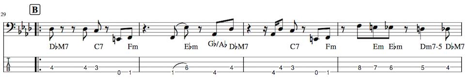 Pretender,ベース練習TAB譜1