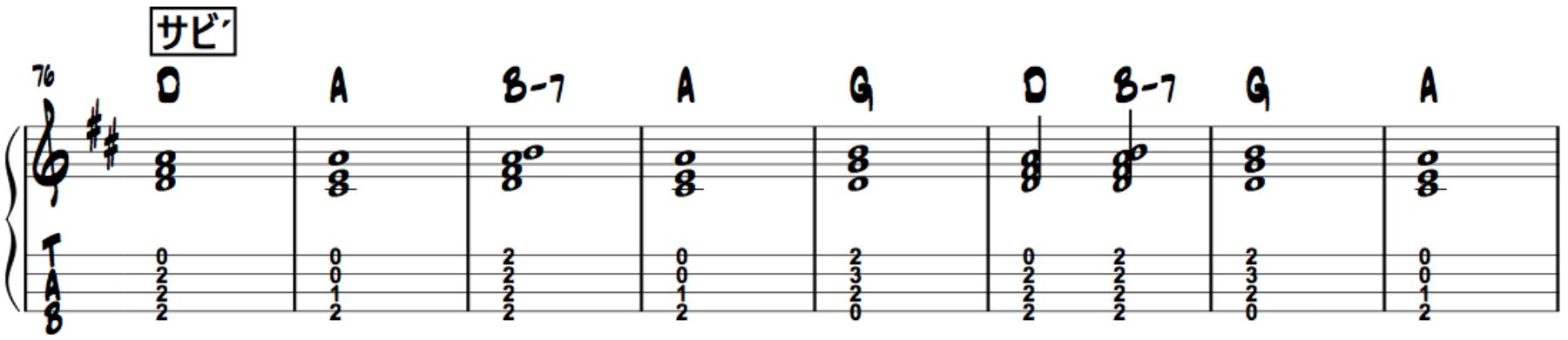 マリーゴールド,ウクレレ簡単伴奏楽譜2