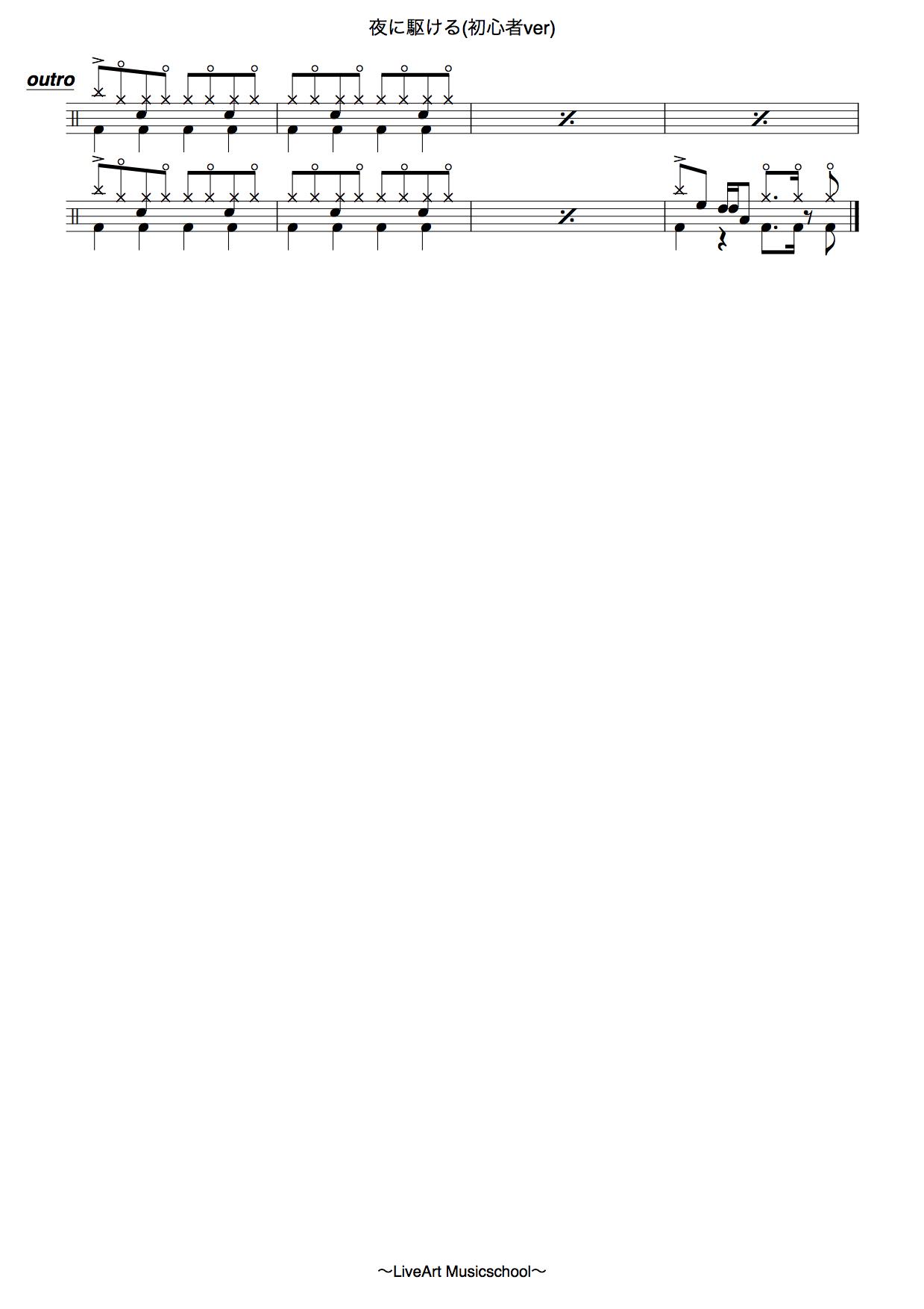夜に駆ける,初心者ドラム譜面4