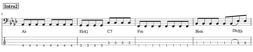 Pretender,ベース練習TAB譜3