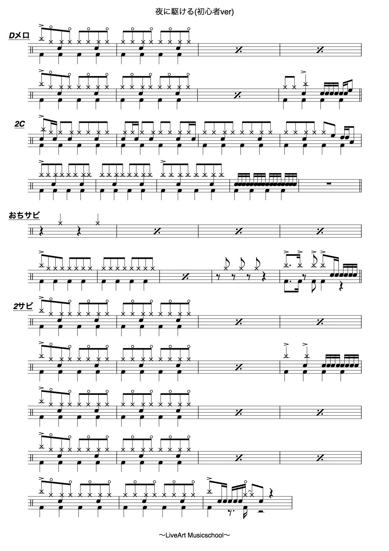 夜に駆ける,初心者ドラム譜面3