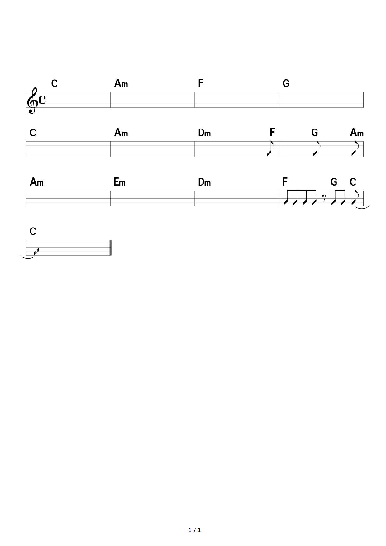 ピアノでポップス伴奏する際のコツ,コード楽譜