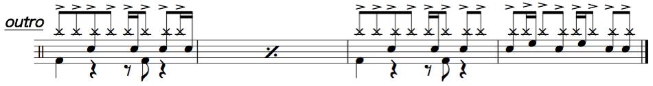 紅蓮華,ドラム簡単楽譜1