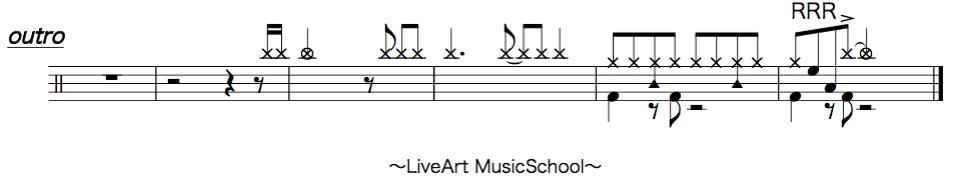 炎,ドラム簡単楽譜2