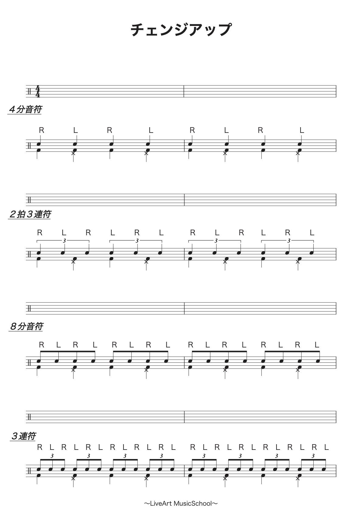 ドラム,チェンジアップ楽譜1