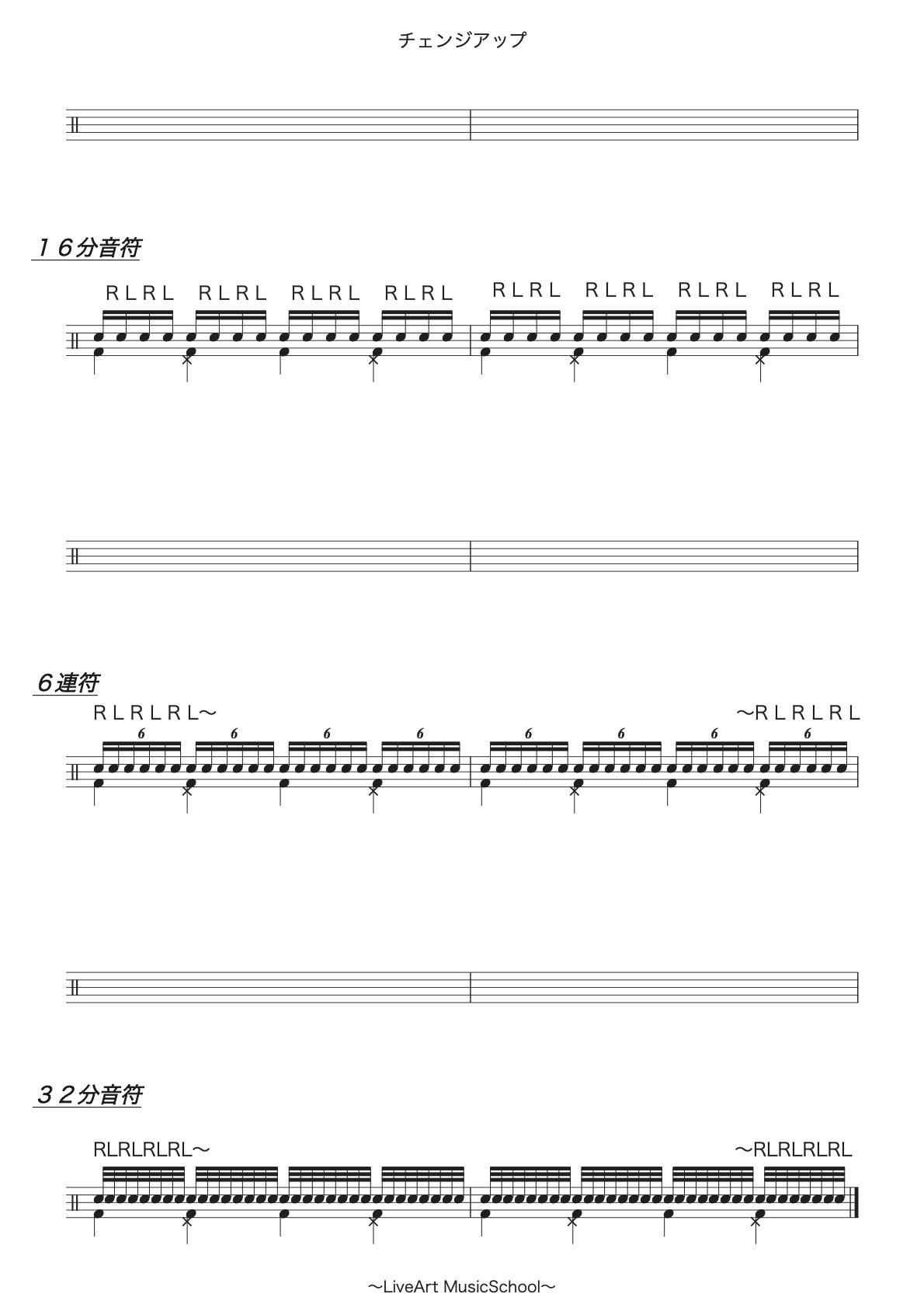 ドラム,チェンジアップ楽譜2