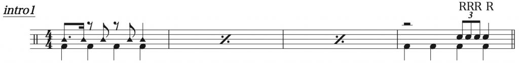 三原色,ドラム簡単楽譜1
