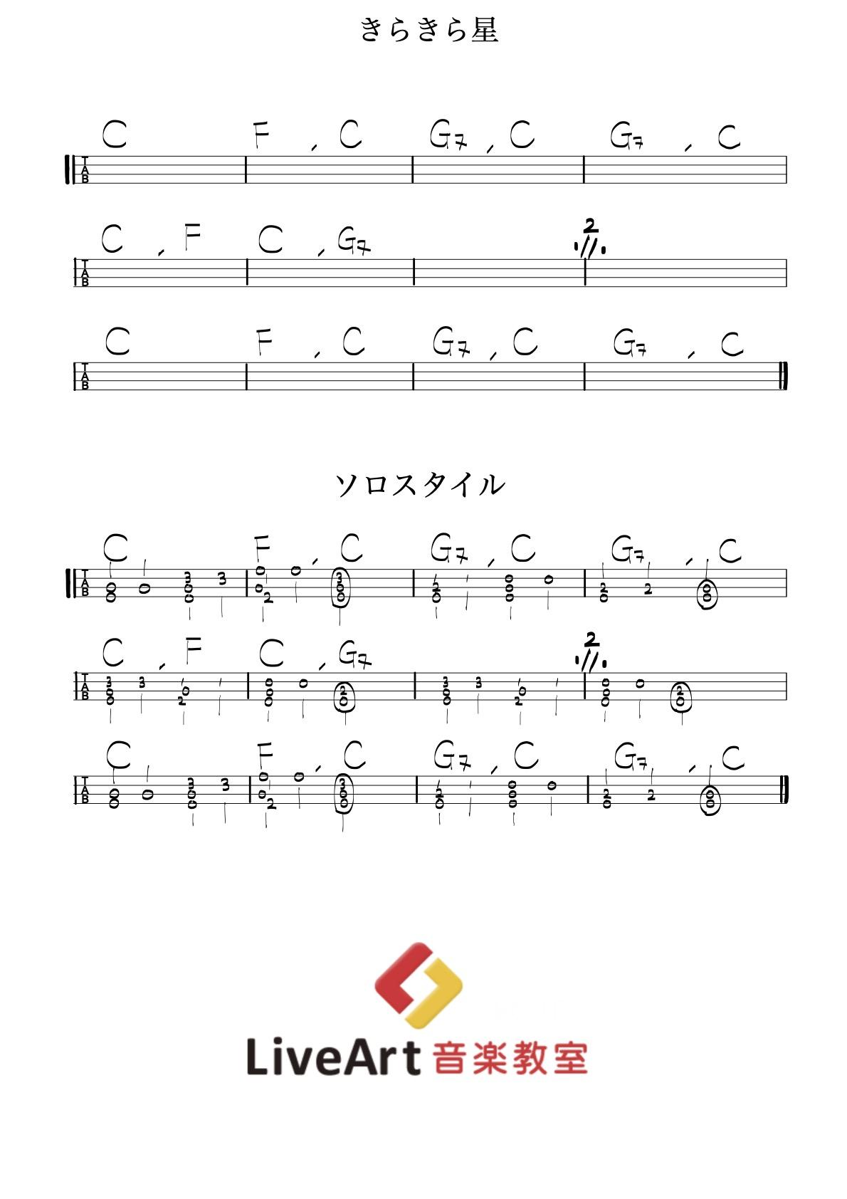 きらきら星,ウクレレ簡単tab譜