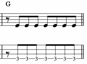 ベース基礎練習フレーズ:ピック弾き編A